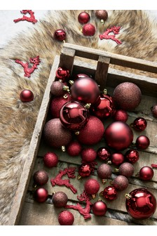 Red Gold Bauble Set