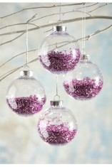 Clear Glass Purple Bauble